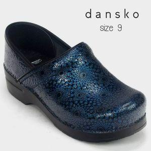 Dansko Medallion Blue Clogs